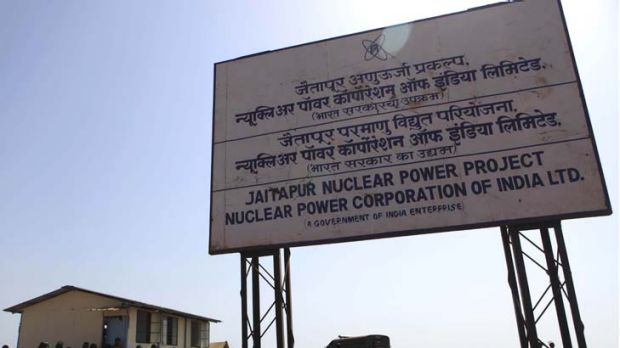 Presence felt ... Indian police officers guard the site of the proposed Jaitapur Nuclear Power Project in Jaitapur.