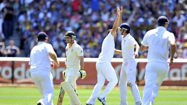 Flashback to Boxing Day 2010: Phillip Hughes departs, caught by Kevin Pietersen off Tim Bresnan, leaving Australia at ...