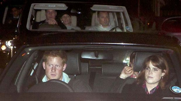 Prince Harry arrives at the hospital with Princess Eugenie.