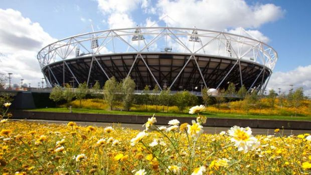 Renewal ... Olympic Park has gone from a wasteland to a verdant landscape surrounding the Olympic Stadium.