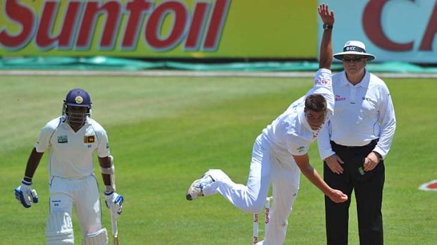 Marchant de Lange bowls on day one of the second Test against Sri Lanka.