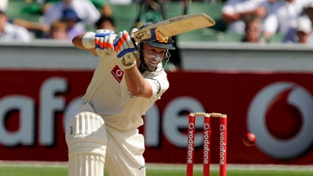 Mike Hussey executes a cover drive during his knock of 89.