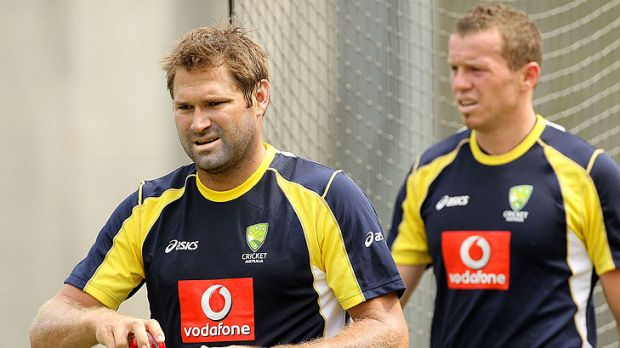 """Ryan Harris (left), pictured with Peter Siddle before the Boxing Day Test, is """"worried about getting injured""""."""