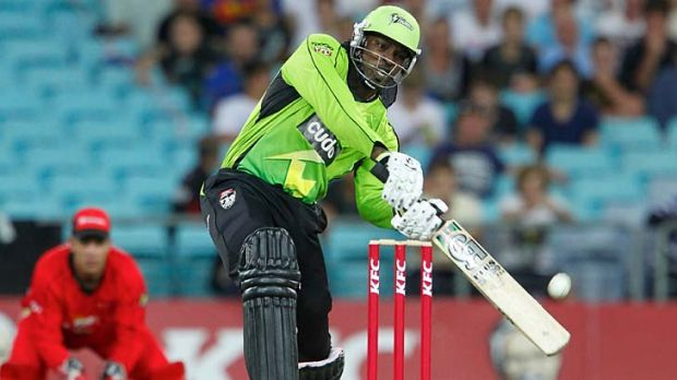Chris Gayle hits one of his five sixes.