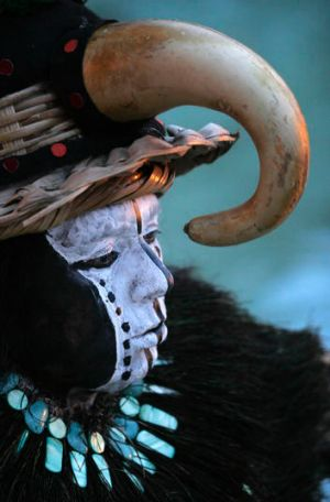 A Mayan priest taking part in a ceremony.