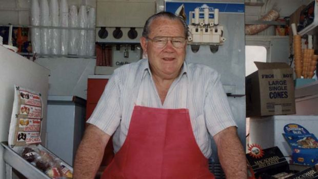 Gambling led to his downfall … Rex ''Buckets'' Jackson, who has died age 83, in his hot dog van.