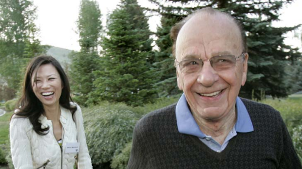 Rupert Murdoch, chairman and CEO of New Corporation with his wife, Wendi.