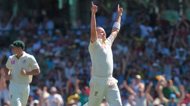 Peter Siddle is as pleased as punch after bowling Umesh Yadav to end the Indian innings and also take his tally of Test ...