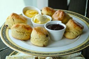 ... and scones with berry jam.