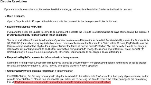 PayPal's policy.