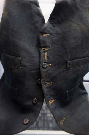 A life under the ocean waves ... passenger William Henry Allen's wool black vest is seen among artifacts recovered from ...