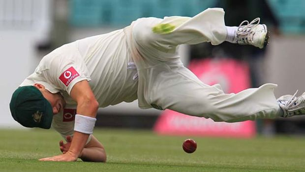 Rare blemish: Peter Siddle drops a chance during Australia's comfortable win at the SCG yesterday.