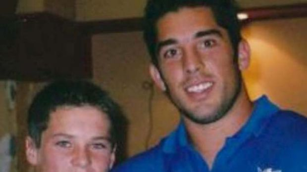 Starstruck ... a 13-year-old Daniel Mortimer with Braith Anasta, who is now his teammate.