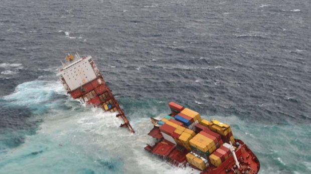 Break-up ... the cargo ship Rena, grounded off New Zealand since October, has been split into two sections that now sit ...