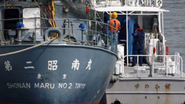 On board ... the three Australians who jumped on to Shonan Maru, a Japanese whaling security ship, are most likely ...