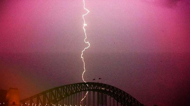Lights, camera, action ... the storm hits the CBD last night.