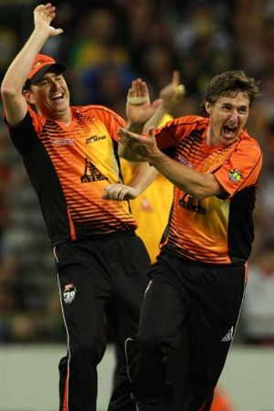 Brad Hogg of the Scorchers celebrates dismissing Cameron Borgas of the Strikers.