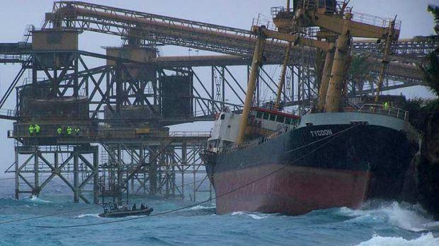Cargo Vessel 'Tycoon' against the cliff in Flying Fish Cove at Christmas Island. Photo: Channel Ten