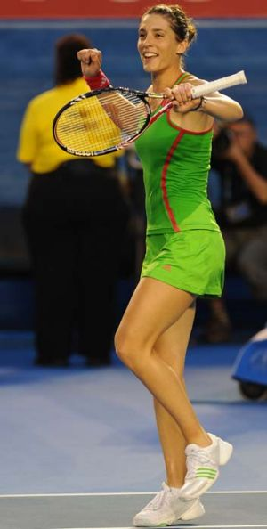 Petkovic celebrates after defeating Maria Sharapova in the fourth round of the Australian Open last year.