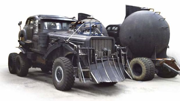 Some of the vehicles for the new Mad Max film Fury Road in storage at Port Kembla.