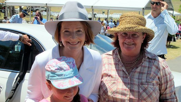 Prime Minister Julia Gillard with Gatton's Irene Spears and her granddaughter Chloe, 9.