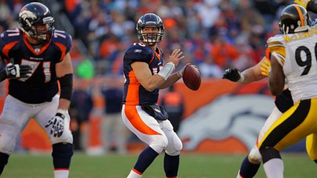 Play-off winning pass ... Tim Tebow has won plaudits for his performances for the Denver Broncos this season.