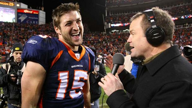 Star man ... Tim Tebow talks to the media after his winning pass against the Pittsburgh Steelers.