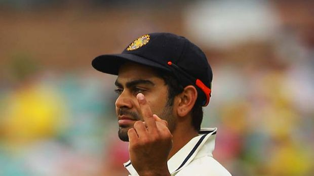 Fine gesture: The one-finger salute cost Virat Kohli half his match fee.