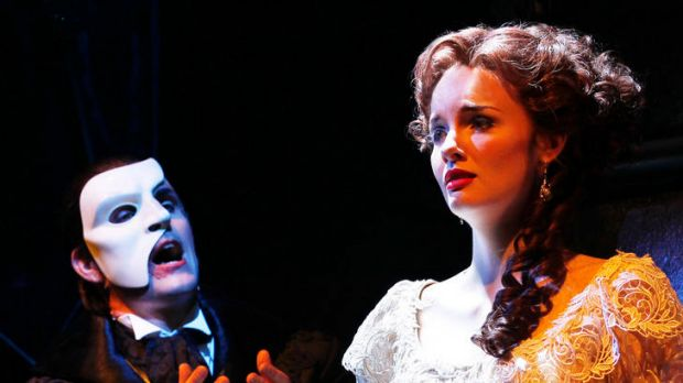 Ben Lewis and Anna O'Byrne star as The Phantom and Christine in the Sydney production of <i>Love Never Dies</i>.