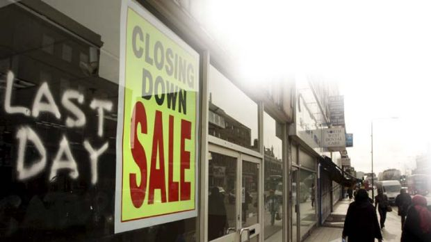 Empty shops ... the British recession is causing a growing number of high street closures.