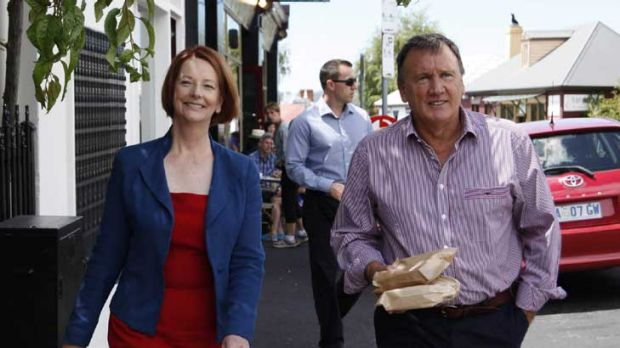 Julie Gillard and partner Tim Mathieson in Hobart yesterday for lunch at Jackman and McRoss Cafe.