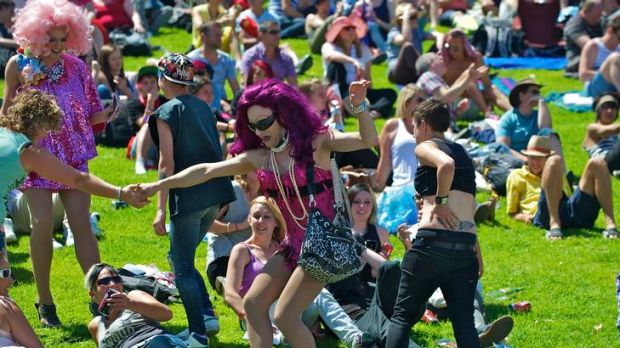 Crowds and performers enjoy the Midsumma Carnival.