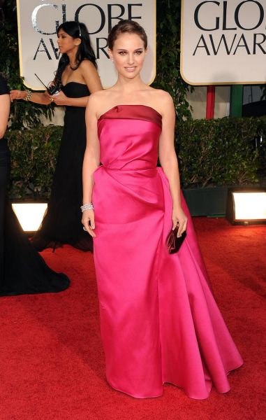 Natalie Portman arrives at the 69th Annual Golden Globe Awards.