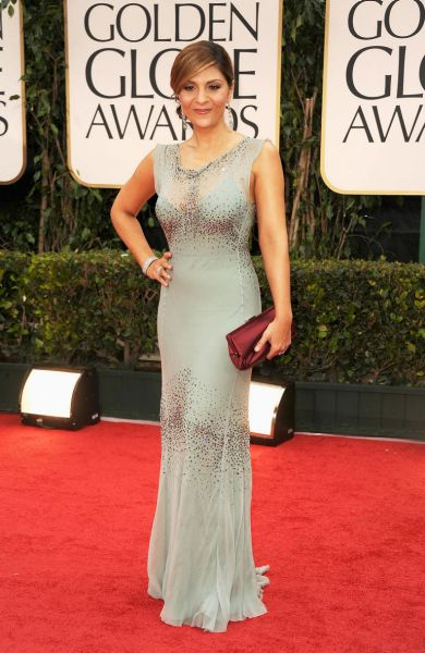 Actress Callie Thorne arrives at the 69th Annual Golden Globe Awards.
