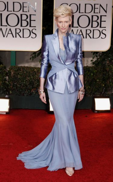 Tilda Swinton arrives at the 69th Annual Golden Globe Awards.