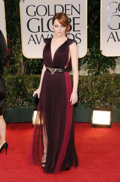 Emma Stone arrives at the 69th Annual Golden Globe Awards.