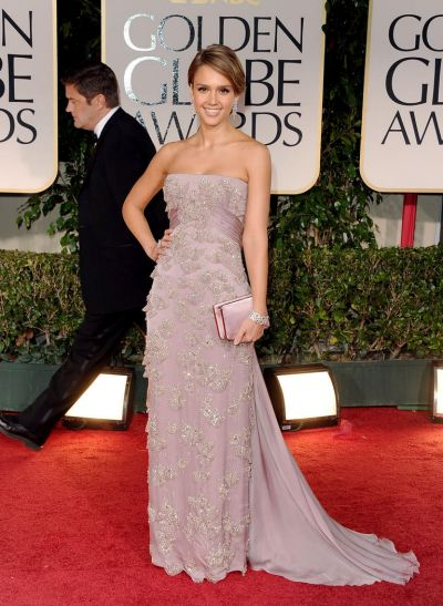 Jessica Alba arrives at the 69th Annual Golden Globe Awards.