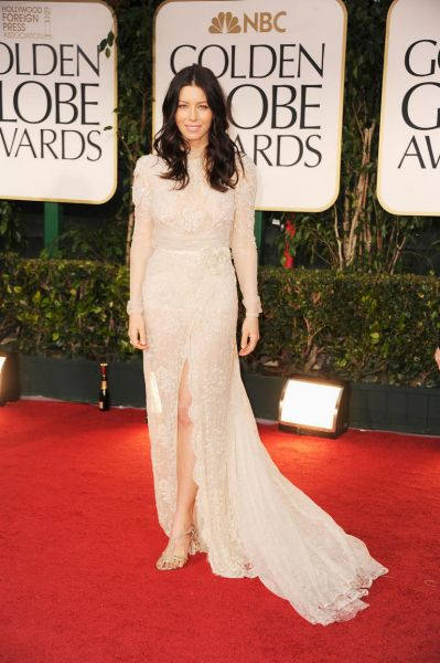 Jessica Biel arrives at the 69th Annual Golden Globe Awards.