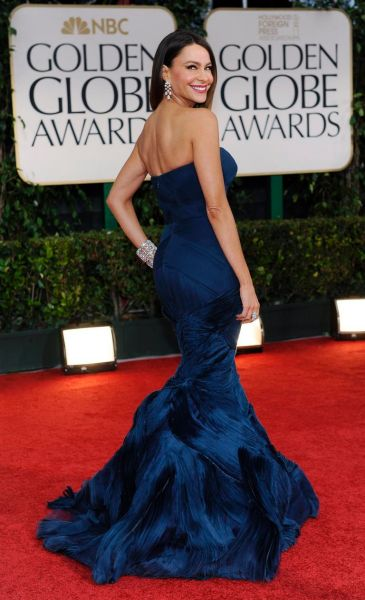 Sofia Vergara arrives at the 69th Annual Golden Globe Awards.