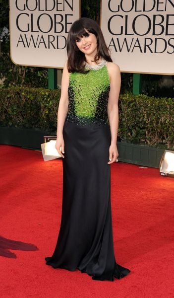 Zooey Deschanel arrives at the 69th Annual Golden Globe Awards.
