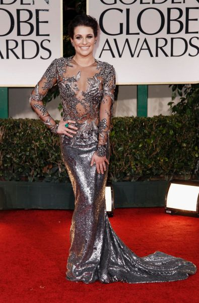 Lea Michele arrives at the 69th Annual Golden Globe Awards.