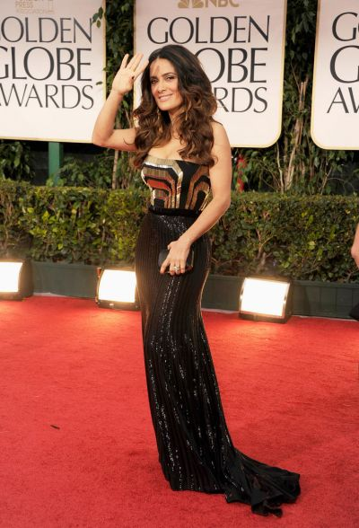 Salma Hayek arrives at the 69th Annual Golden Globe Awards.
