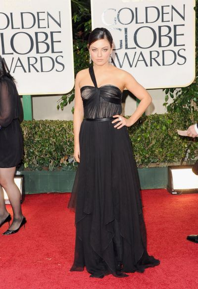 Mila Kunis arrives at the 69th Annual Golden Globe Awards.