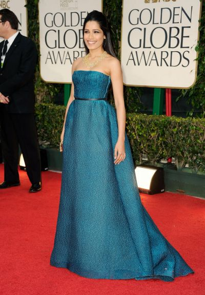 Actress Freida Pinto arrives at the 69th Annual Golden Globe Awards.