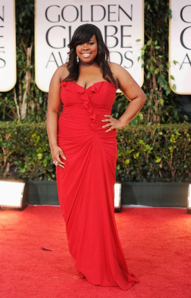 Actress Amber Riley arrives at the 69th Annual Golden Globe Awards.