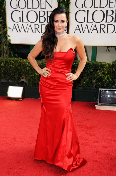 TV personality Kyle Richards arrives at the 69th Annual Golden Globe Awards.
