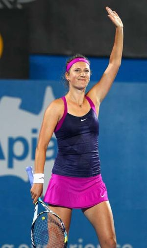 Victoria Azarenka celebrates after her win against Li Na in Sydney.