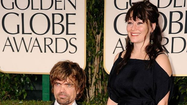 Trending topic ... Peter Dinklage arrives at the awards with Erica Schmidt.