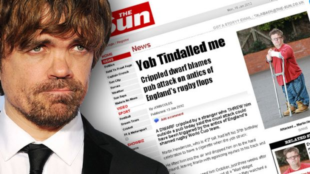 Fame ... Peter Dinklage named Martin Henderson, who featured in UK newspaper  The Sun after being injured in a ...
