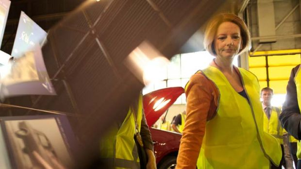 Julia Gillard … at the Ford plant yesterday.